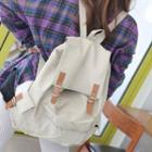 Contrast Buckled Canvas Backpack
