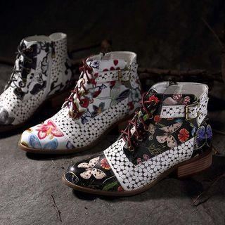 Buckled Printed Lace-up Short Boots