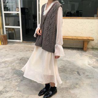 Long-sleeve Midi Chiffon Dress Almond - One Size