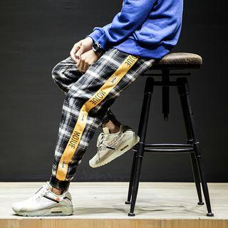 Lettering Trim Plaid Harem Pants