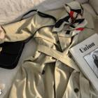 Drop-shoulder Flap Trench Coat With Sash