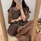 Set: V-neck Knit Vest + Plaid Midi A-line Shirtdress