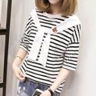 Mock Two Piece Striped Short Sleeve T-shirt