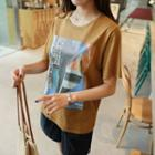 Linen Blend M Lange Printed T-shirt