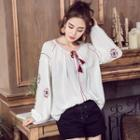 Long-sleeve Embroidered Top White - S