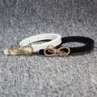 Rhinestone Bow Faux Leather Slim Belt