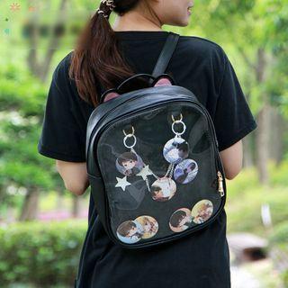 Transparent Panel Lightweight Zip Backpack