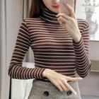 Long-sleeve Turtleneck Striped Knit Top