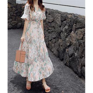 Chiffon Floral V-neck Dress