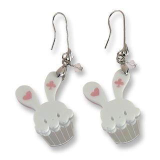 Sweet White Bunny Cupcake Of Heart Swarovski Crystal Dangle Earrings