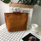 Faux Leather Shopper Bag Brown - One Size
