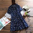 Floral Print Short-sleeve Corduroy Dress