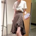 Check Irregular A-line Midi Skirt