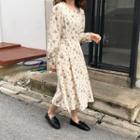 Long-sleeve Floral Print A-line Midi Dress White - One Size