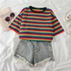 Contrast Rainbow Striped Short-sleeve T-shirt