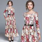 Boatneck Floral Maxi Dress