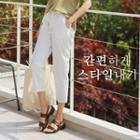 Drawstring-waist Linen Blend Stripe Pants