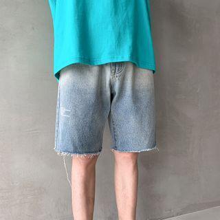 Gradient Denim Wide-leg Shorts