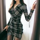 Long-sleeve V-neck Houndstooth Sheath Dress