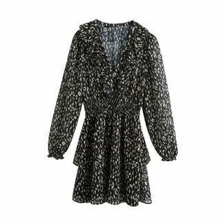 Ruffle Trim Printed Long-sleeve A-line Dress