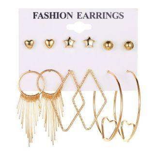 Set Of 6 Pairs: Earring 01 - 7632 - 1 Pair - Gold - One Size
