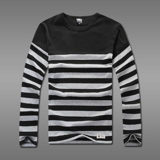 Long-sleeve Striped Panel T-shirt