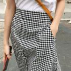 A-line Gingham Midi Skirt