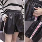 Panel Faux Leather Shorts