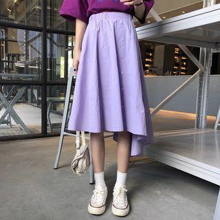 Buttoned Asymmetric A-line Midi Skirt