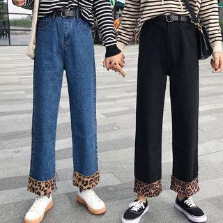 Animal Print Panel Wide-leg Jeans