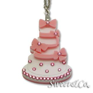 Sweet Pink Dolly Cake Swarovski Pendant Silver Necklace Pink - One Size