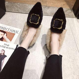 Buckled Furry Chunky Heel Loafers