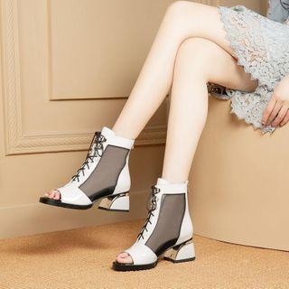 Block Heel Mesh Panel Lace Up Short Boots