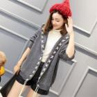 Lace-up Hooded Knit Cardigan