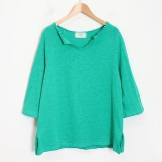 3/4-sleeve V-neck Plain Top