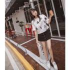 Star Print Elbow Sleeve T-shirt