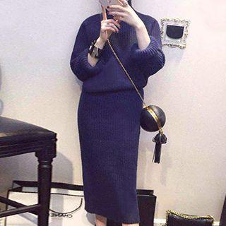 Set: Plain Sweater + Knit Midi Skirt