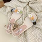 Flower Strap Block Heel Sandals