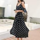 Elbow-sleeve Cold Shoulder Dotted A-line Midi Dress