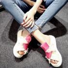 Satin Platform Slide Sandals