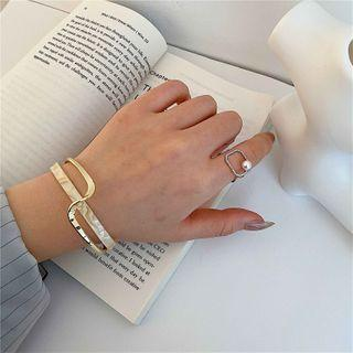 Layered Resin Alloy Open Bangle 1 Pc - Gold - One Size