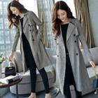 Double-breasted Houndstooth Trench Coat