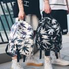 Canvas Leaf Print Backpack