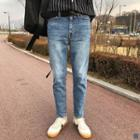 +5cm Washed Tapered Jeans