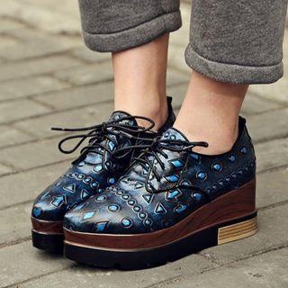 Lace-up Pattern Platform Shoes