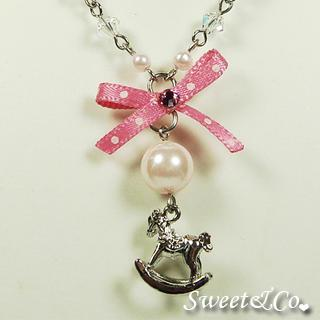 Pink Mini Rocking Horse Crystal Necklace