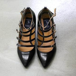 Faux-leather Buckled Pumps
