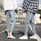 Couple Matching Ripped Washed Jeans