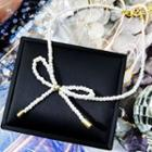 Bow Faux-pearl Choker Silver - One Size