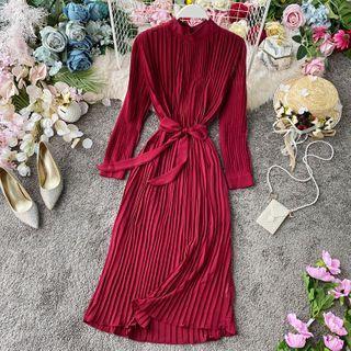 Long-sleeve Tie-waist Midi A-line Pleated Dress
